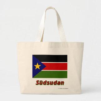 Südsudan Flagge mit Namen Tote Bags