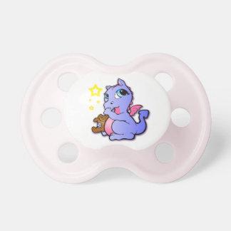 Sugande tum för babydrake - lila + Rosor - Binky Napp