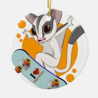 Sugarglider skater julgransprydnad keramik