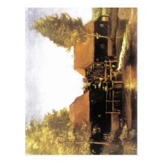 Summarisk beskrivningsmålning av watermill av vykort