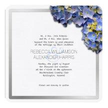Summer Blue Hydrangea Square Wedding Invitations