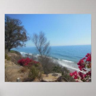 Summerland strand nära Santa Barbara Poster