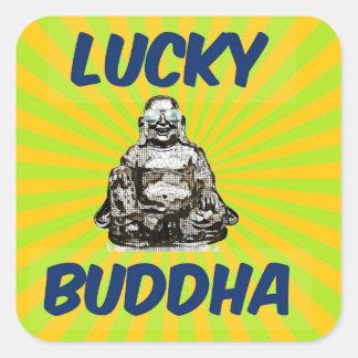 SunBurst Buddha Fyrkantigt Klistermärke