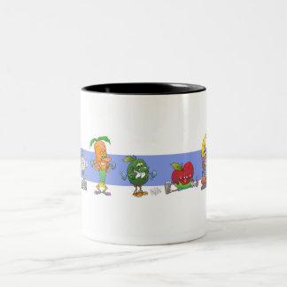 Sunda öva matar för gullig tecknad, på en mug. Två-Tonad mugg
