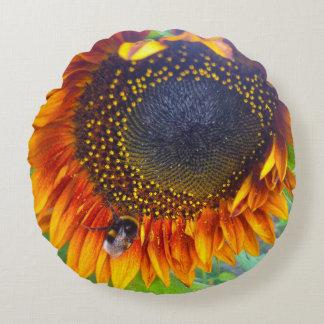 Sunflower & Bumblebee Rund Kudde