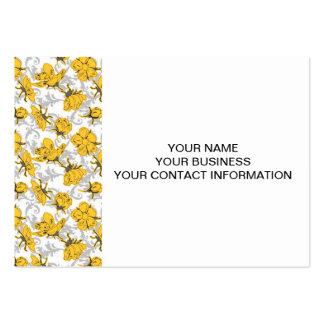 Sunglow gul och grå vintageblommönster set av breda visitkort