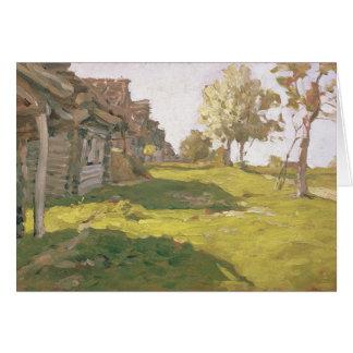 Sunlit dag. En liten by, 1898 Hälsningskort