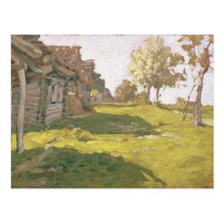 Sunlit dag. En liten by, 1898 Vykort