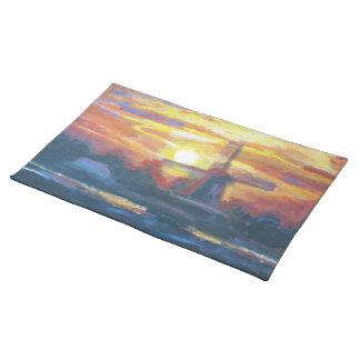 Sunrise/solnedgångkvarn landskap målning bordstablett
