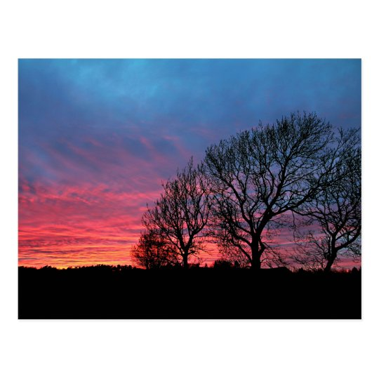Sunset with red sky vykort