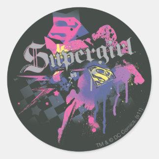 Supergirl rutig Splatter Runt Klistermärke