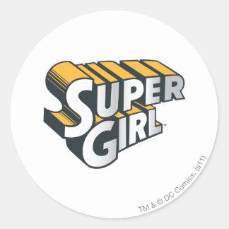 Supergirl silver- och orangelogotyp runt klistermärke