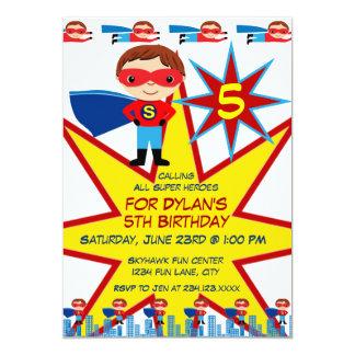 Superheroen lurar pojkefödelsedagsfest inbjudan 12,7 x 17,8 cm inbjudningskort