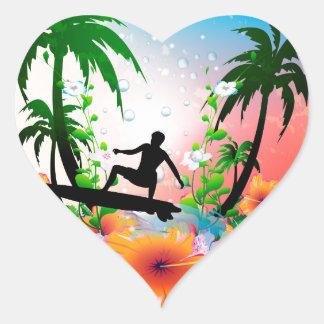 Surfa Hjärtformat Klistermärke
