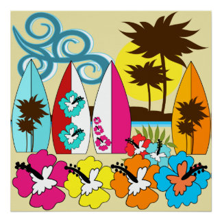 Surfa shoppar surfa palmträdet för poster