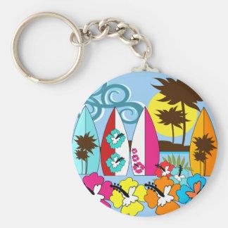 Surfa shoppar surfa palmträdet för rund nyckelring