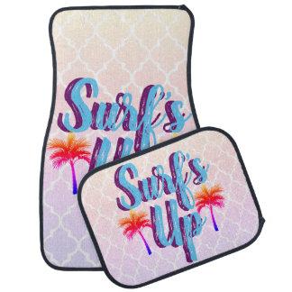 Surfa upp sommarsolnedgångpalmträd bilmatta