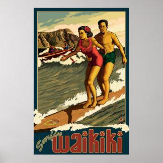 Surfa Waikiki - Honolulu, Hawaii reser affischen Poster