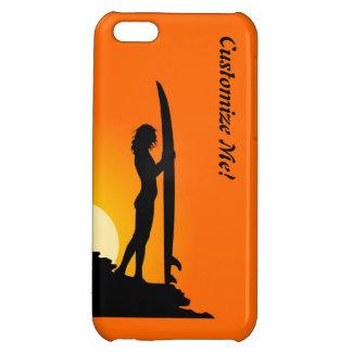 Surfareflickasolnedgången som surfar iphone case, iPhone 5C skydd