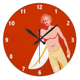 Surfaren tar tid på stor klocka