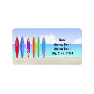 Surfingbrädastrandadressetiketter Adressetikett