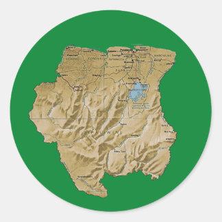 Surinam kartaklistermärke runt klistermärke