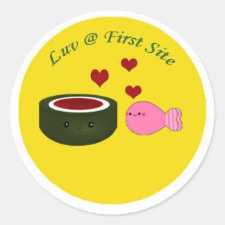 Sushi älskar först platsen runt klistermärke