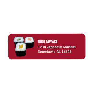 Sushi | Maki Rolls på rött Returadress Etikett