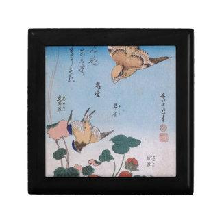 Svala- och begonia- och jordgubbepaj Katsushika Smyckeskrin