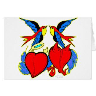 Svalor och hjärtatatuering hälsningskort