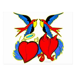 Svalor och hjärtatatuering vykort