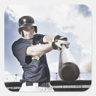 Svängande baseballfladdermöss 2 för fyrkantigt klistermärke