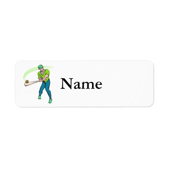 Svängande fladdermössbasebollspelare returadress etikett
