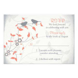 Svar för bröllop OSA för löv för fåglar för korall Individuella Inbjudningskort
