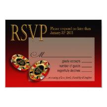 Svar röd | för kasinoLas Vegas VIP OSA 8,9 X 12,7 Cm Inbjudningskort
