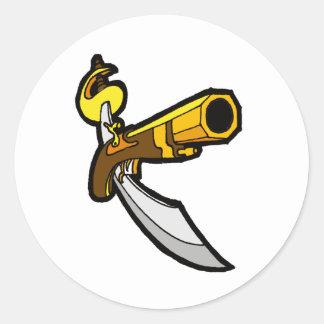 Svärd & vapen runt klistermärke