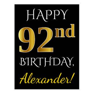 Svart 92nd födelsedag för Fauxguld + Vykort