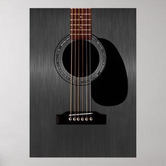 Svart akustisk gitarr för aska poster
