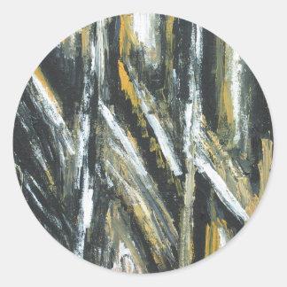 Svart akut metar (abstrakt expressionism) runt klistermärke
