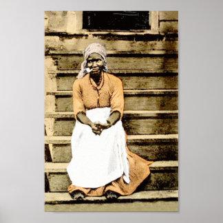 Svart Amerika vintagekvinna på farstubro med cigar Poster
