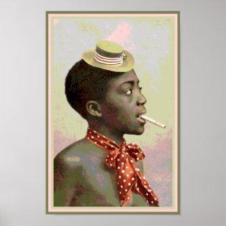 Svart Amerika vintagepojke med cigarren Poster