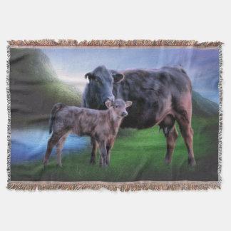 Svart Angus ko och kalv Filt