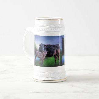 Svart Angus ko och kalv Sejdel