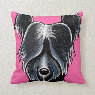Svart anpassningsbar för porträtt för Skye Terrier Kudde