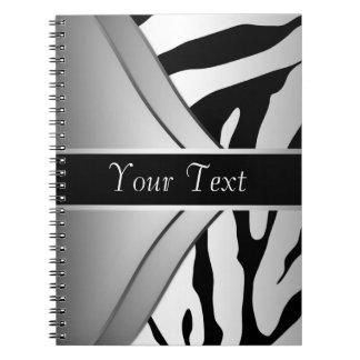 Svart anteckningsbok för vitsebraspiral
