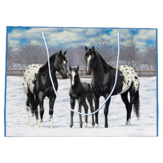 Svart Appaloosahästar i snö