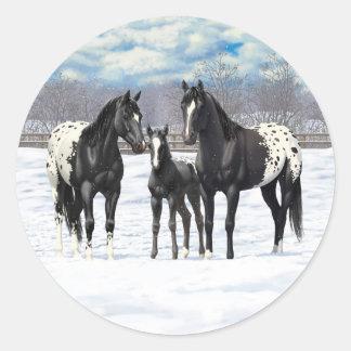 Svart Appaloosahästar i snö Runt Klistermärke