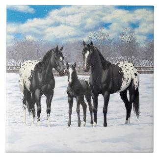 Svart Appaloosahästar i snö Stor Kakelplatta