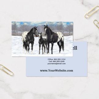 Svart Appaloosahästar i snö Visitkort