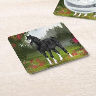 Svart arabiskt hästtryck underlägg papper kvadrat